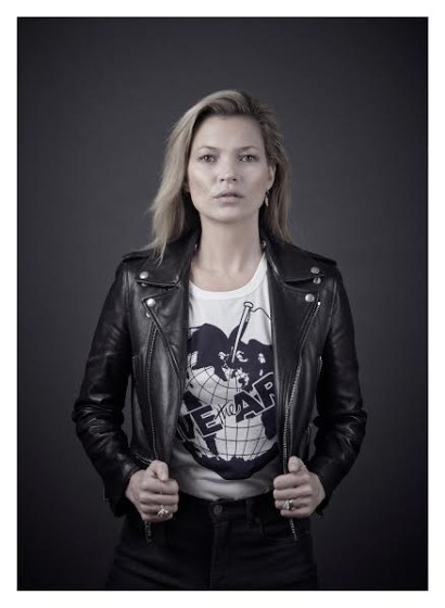 Kate Moss models a Vivienne Westwood-designed t-shirt for the Save the Arctic collection, shot by celebrity photographer Andy Gotts MBE.