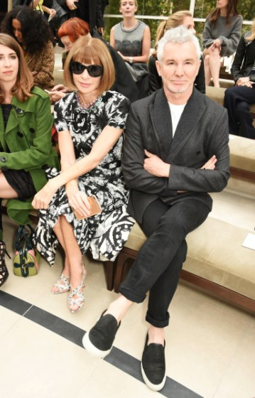 LONDON, ENGLAND - SEPTEMBER 21:  Anna Wintour (L) and Baz Luhrmann attend the Burberry Womenswear Spring/Summer 2016 show during London Fashion Week at Kensington Gardens on September 21, 2015 in London, England.  (Photo by David M. Benett/Dave Benett/Getty Images for Burberry) *** Local Caption *** Anna Wintour;Baz Luhrmann