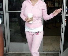 Britney Spears pops to her local Starbucks in Malibu in a fetching pink 'Juicy' tracksuit.