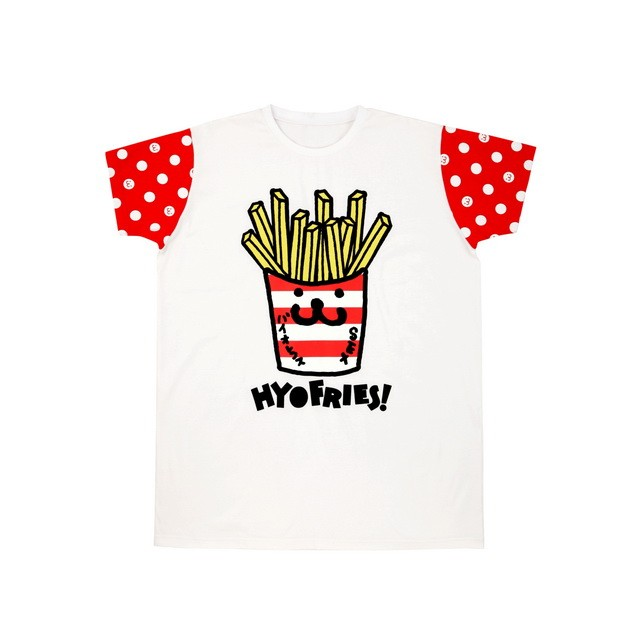 HYOMA SP14 Fries Print with Dotted Sleeve Tee $459