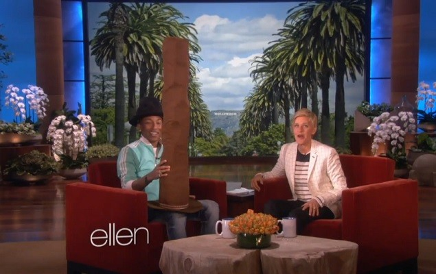Pharrell Gets a New Hat from Ellen Degeneres