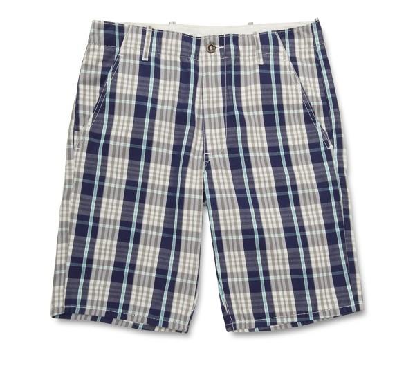 深色粗格紋休閒短褲