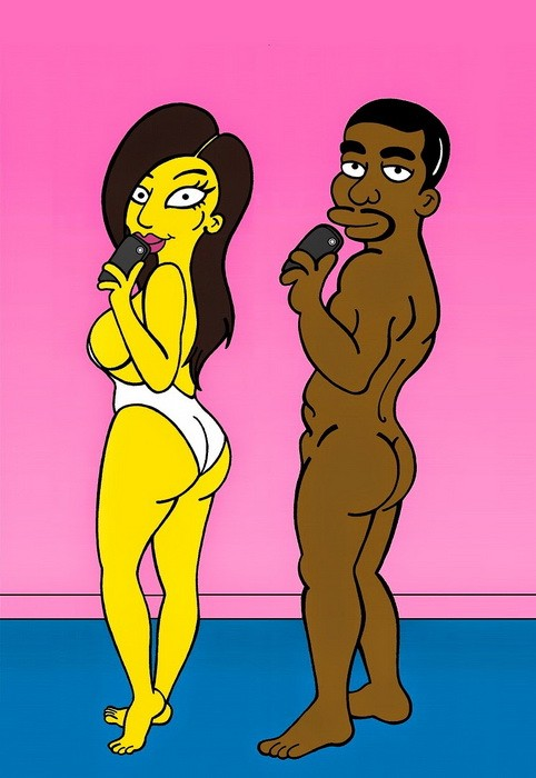 Kim Kardashian and Kanye The Simpsons Simpsonized  West Sexy Erotic Nude Selfie Booty Wedding Cover Art Photo Painting Cartoon Satire Illustration Cover Iconic Family Humor Chic by aleXsandro Palombo 1