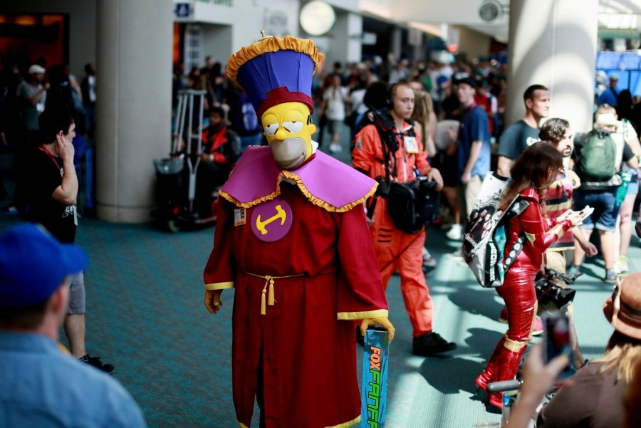 Kenneth McDaniel, who is dressed as Homer Simpson from The Simpsons, is seen during the 2014 Comic-Con International Convention in San Diego, California