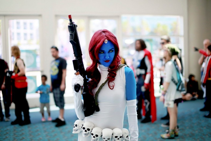 Allie Shaughnessy, who is dressed as Mystique, poses during the 2014 Comic-Con International Convention in San Diego, California