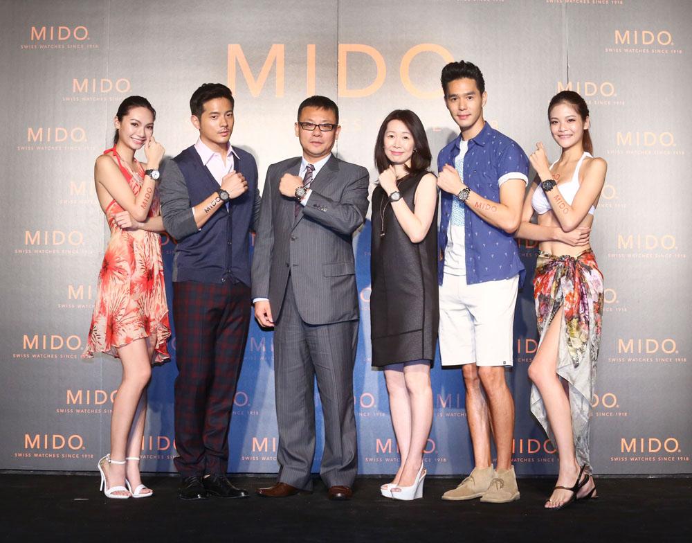 (由左至右)女模Yana、宥勝、MIDO副總藍楷茗、Swatch集團台灣分公司李佩倩總經理、丁春誠