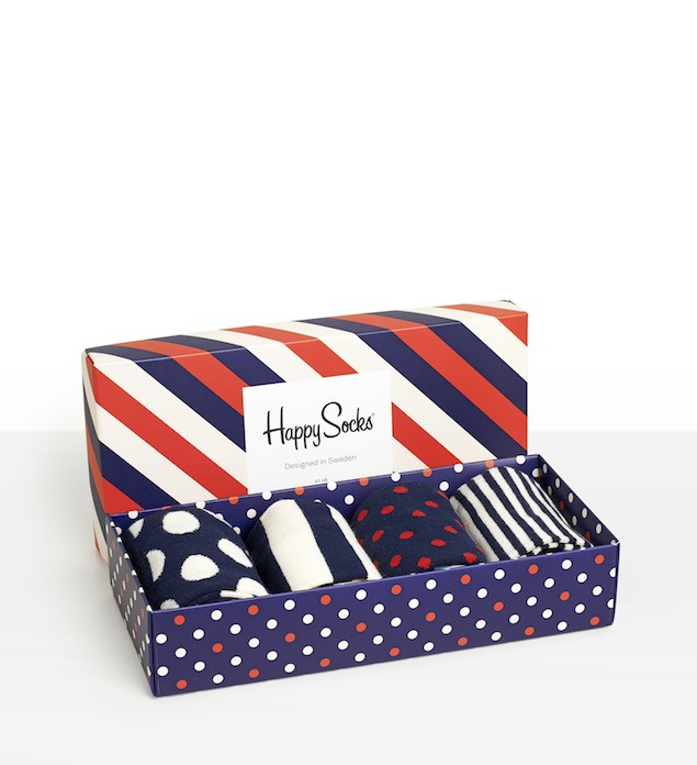 Happy Socks_14FW_Gift Pack_4 Pairs Socks 經典禮盒_紅藍白斜紋_$1,480(展開)