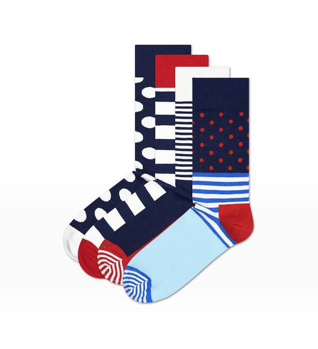 Happy Socks_14FW_Gift Pack_4 Pairs Socks 經典禮盒_紅藍白斜紋_$1,480(襪款)