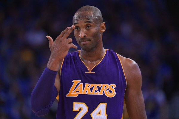 November 1, 2014; Oakland, CA, USA; Los Angeles Lakers guard Kobe Bryant (24) reacts after fouling Golden State Warriors guard Klay Thompson (11, not pictured) during the third quarter at Oracle Arena. The Warriors defeated the Lakers 127-104. Mandatory Credit: Kyle Terada-USA TODAY Sports