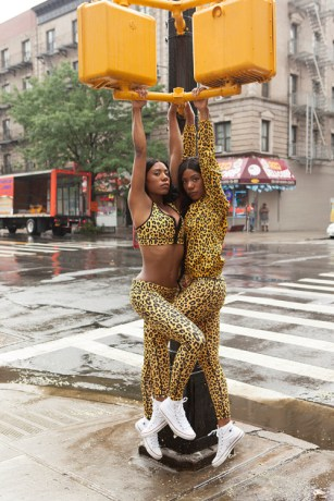 Cheetah Print Jogging gear E-commerce shoot for Married to the Mob 2015 Fall line by Sais