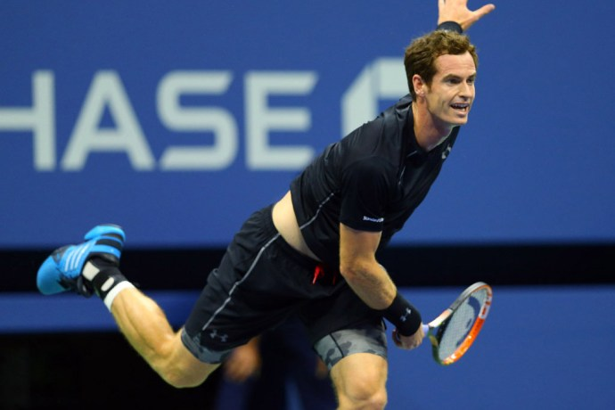 Sep 1, 2015; New York, NY, USA; Andy Murray of Great Britain serves to Nick Kyrgios of Australia on day two of the 2015 U.S. Open tennis tournament at USTA Billie Jean King National Tennis Center. Mandatory Credit: Jerry Lai-USA TODAY Sports