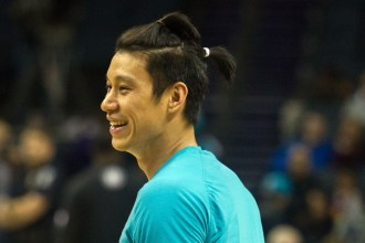 Apr 8, 2016; Charlotte, NC, USA; A close up view of Charlotte Hornets guard Jeremy Lin (7) hairstyle prior to the game against the Brooklyn Nets at Time Warner Cable Arena. Mandatory Credit: Jeremy Brevard-USA TODAY Sports
