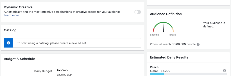 Facebook Ad Set Audience Size