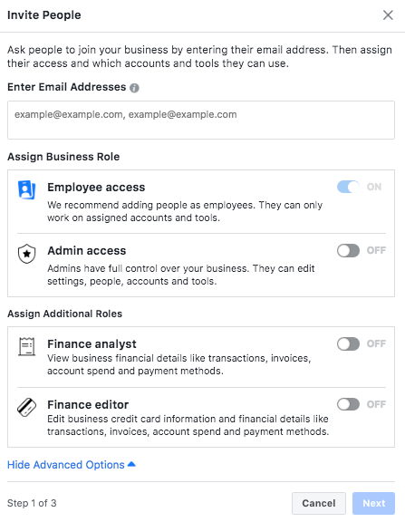 Assigning Staff Roles in Facebook Business Manager