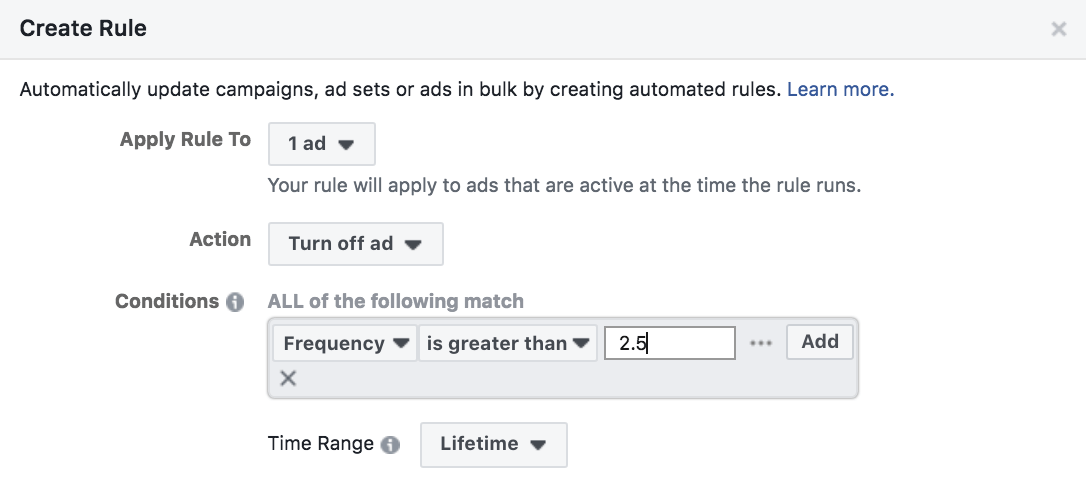 Facebook automated rules pause ads with high frequency