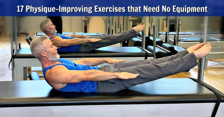 Mature athlete doing the Hundreds exercise in a Pilates man regimen.