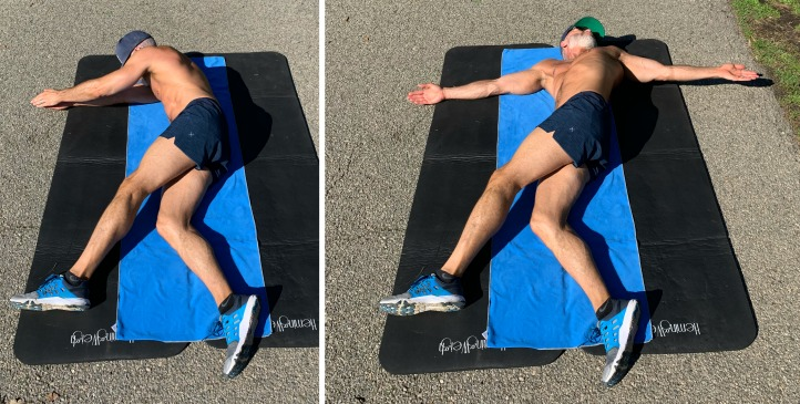 Over-50 athlete doing a spinal stretch twist for improved mobility.