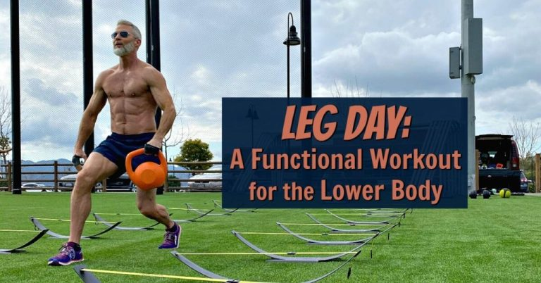 Mature athlete with kettlebell doing lunges at the park on Leg Day.