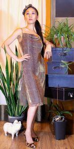 BS 2012-04-128a Snake Print Cowl Neck Flounce Dress