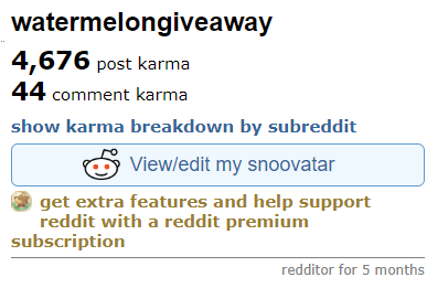 Example of Reddit karma totals
