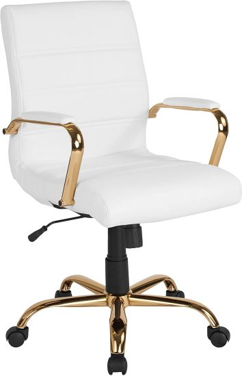 Flash Furniture Mid-Back White LeatherSoft Executive Swivel Office Chair with Gold Frame and Arms