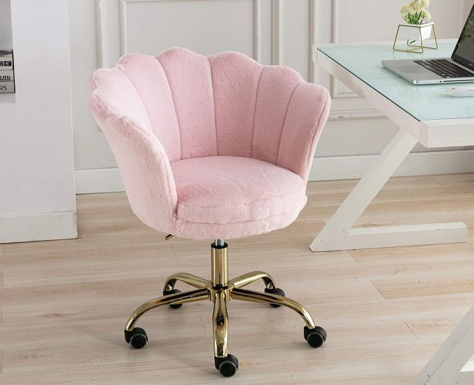 Guyou Faux Fur Home Office Desk Chair Stool