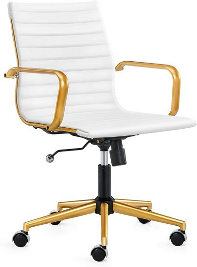 LUXMOD Gold Office Chair in White Leather, Mid Back Office Chair with Armrest