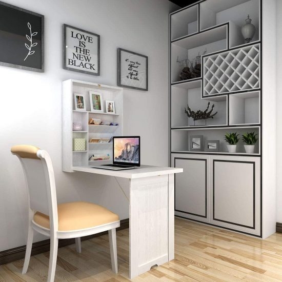 TANGKULA Wall Mounted Table, Fold Out Multi-Function Computer Desk