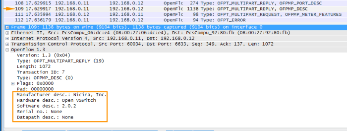 OpenFlow Wireshark