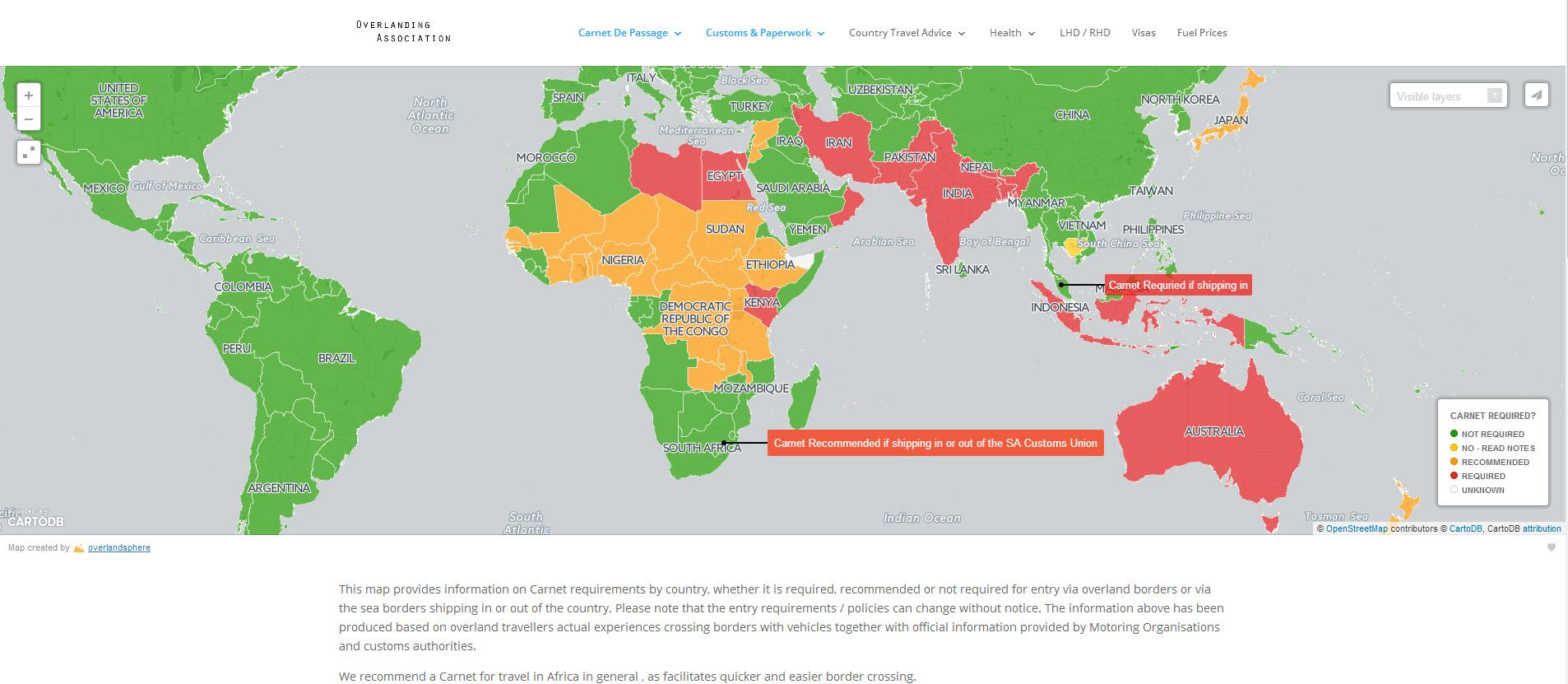 Carnet De Passage Information by Country - Overlanding Association