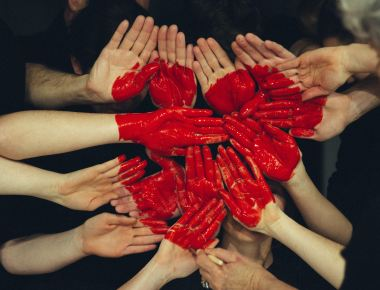Photo by Tim Marshall, red paint, love, heart, hands
