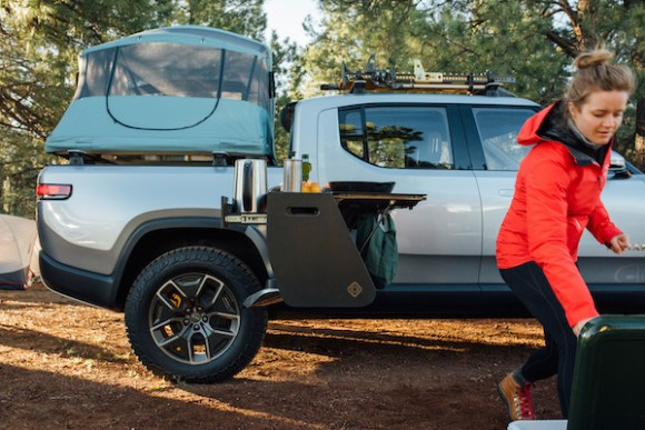 Overlanding with Rivian R1T camping kitchen