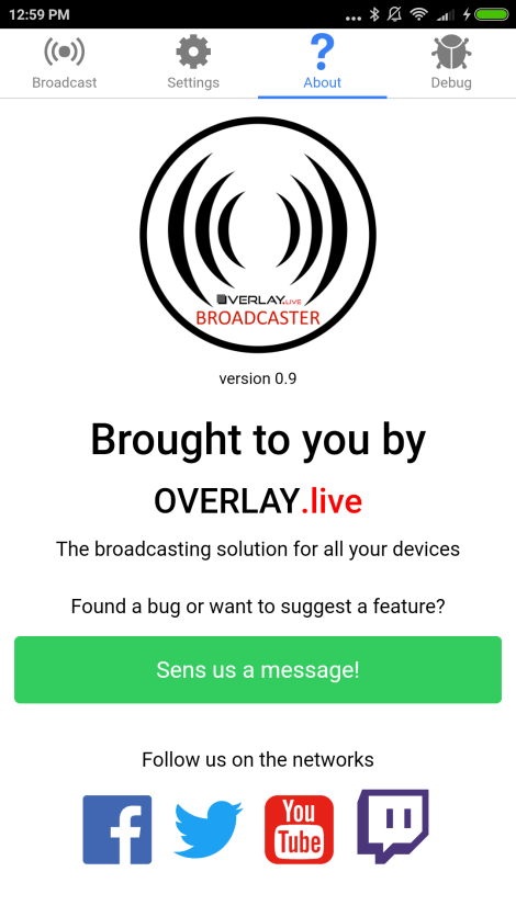 Screenshot from the Overlay.live Broadcaster Android App
