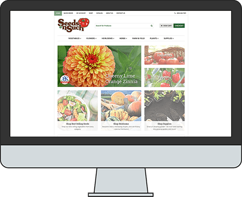 An iMac screen depicting Seeds 'n Such, an e-commerce website for a mail-order seed company.