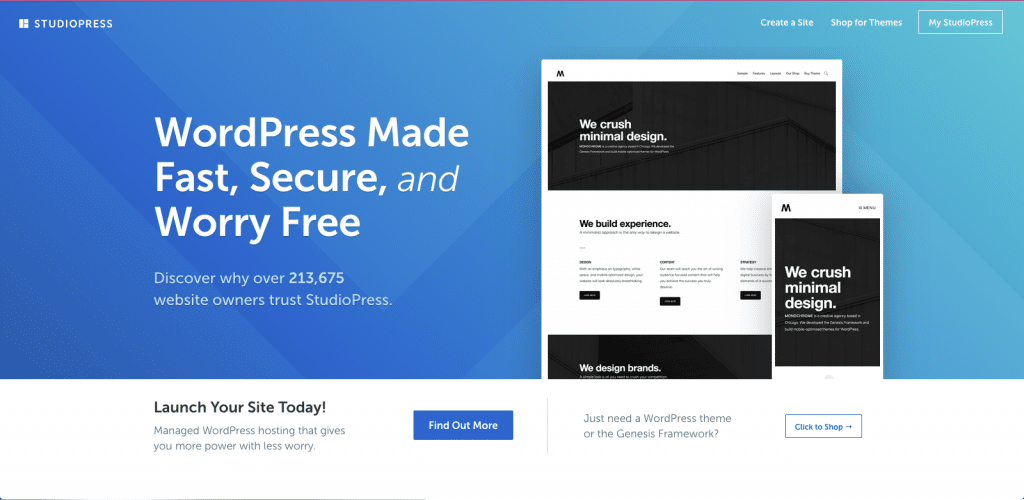 """A screenshot of the StudioPress (Genesis Framework) home page. It promises """"WordPress Made Fast, Secure, and Worry Free""""."""