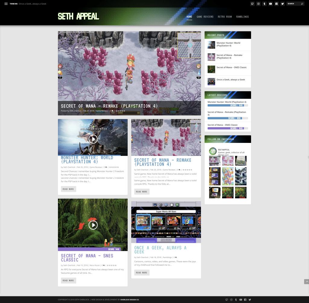 Seth Appeal is a gaming blog run by my husband, Seth Overlock.