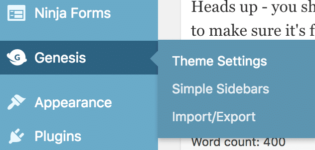 A screenshot of the WordPress Dashboard with the Theme Settings link highlighted. Theme settings are found under the Genesis tab.