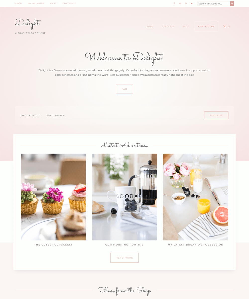 "Delight is a ""girly"" theme built for the Genesis Framework."