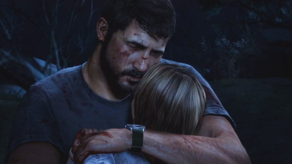 Joel holding his daughter in The Last of Us 1