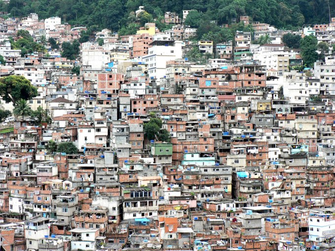 Slums in Rio de Janeiro, in one of the world's densest megacities, where overpopulation apparently exists.