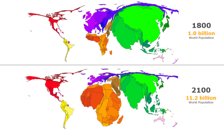 World population change 1800-2100, the country size shows the share of the population (Source: metrocosm.com)