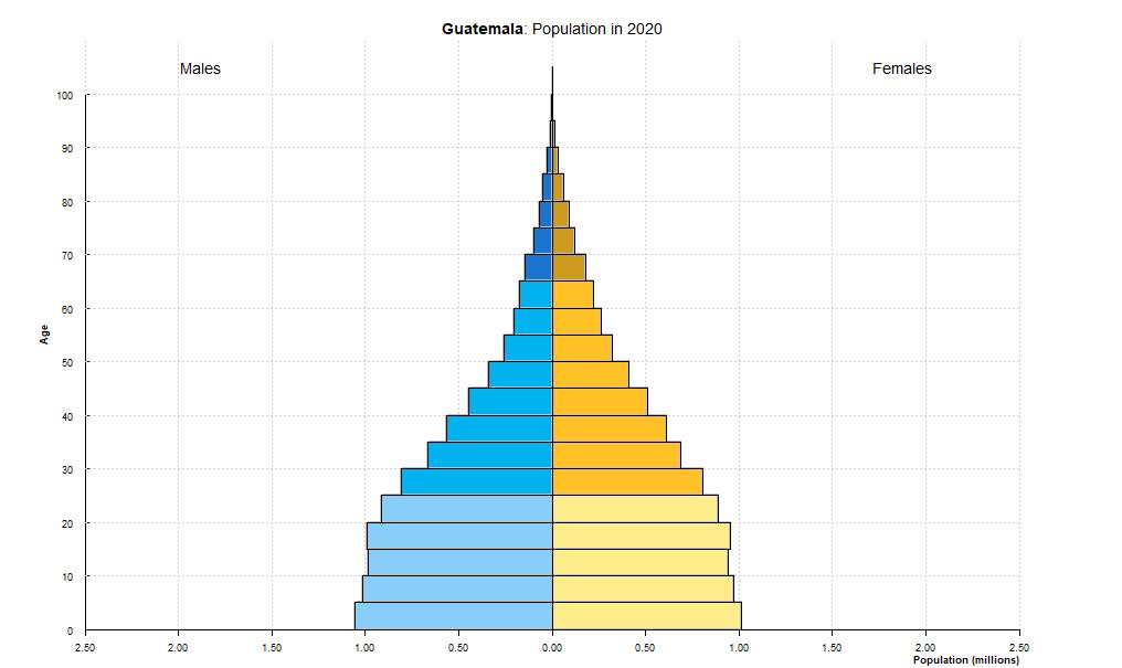 Guatemala population pyramid (2020)