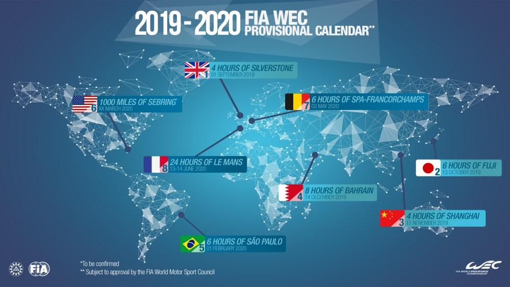 Provisional 2019-2020 FIA World Endurance Championship