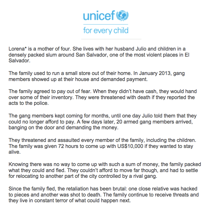 UNICEF Article on San Salvador Family