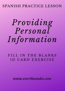 Spanish Lesson on Providing Personal Information