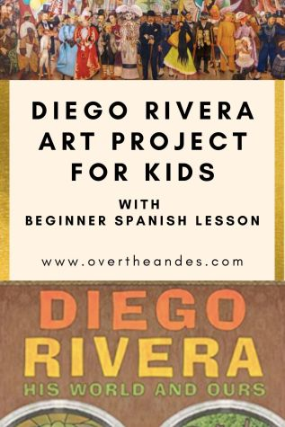 Diego Rivera art project for kids with a beginner Spanish lesson on colors too.