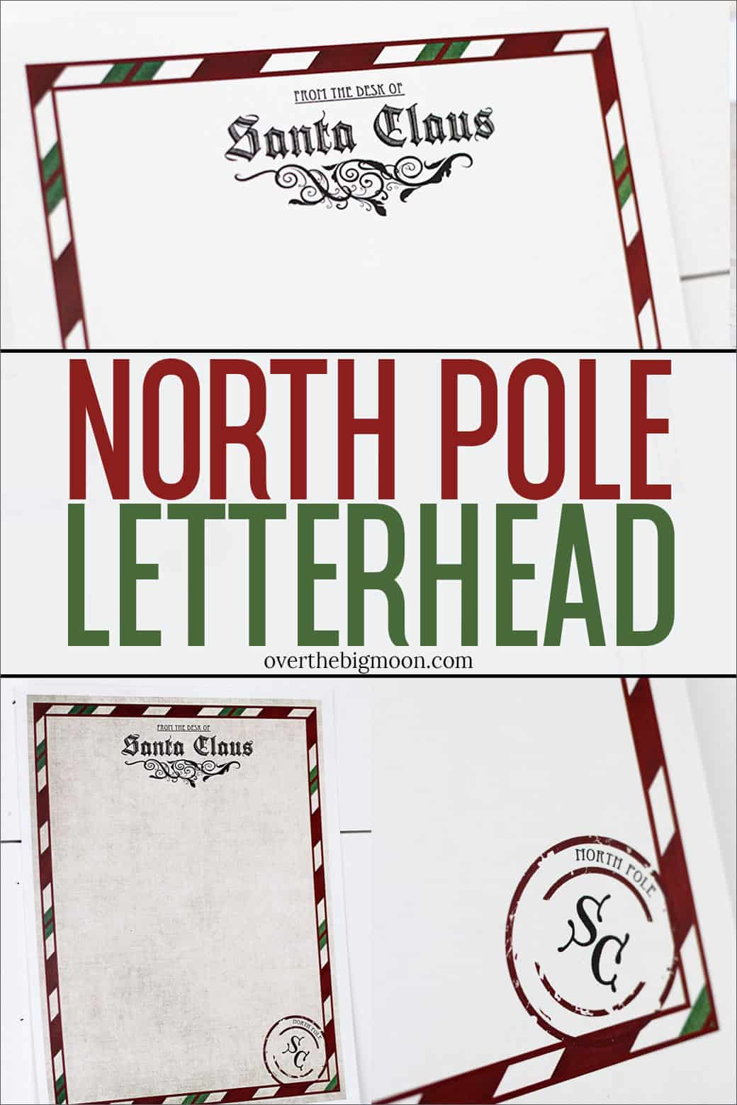 A printable North Pole Letterhead for you to print and have a Letter from Santa come to your little ones during the Holidays or in their stocking on Christmas morning! Available in two different versions.