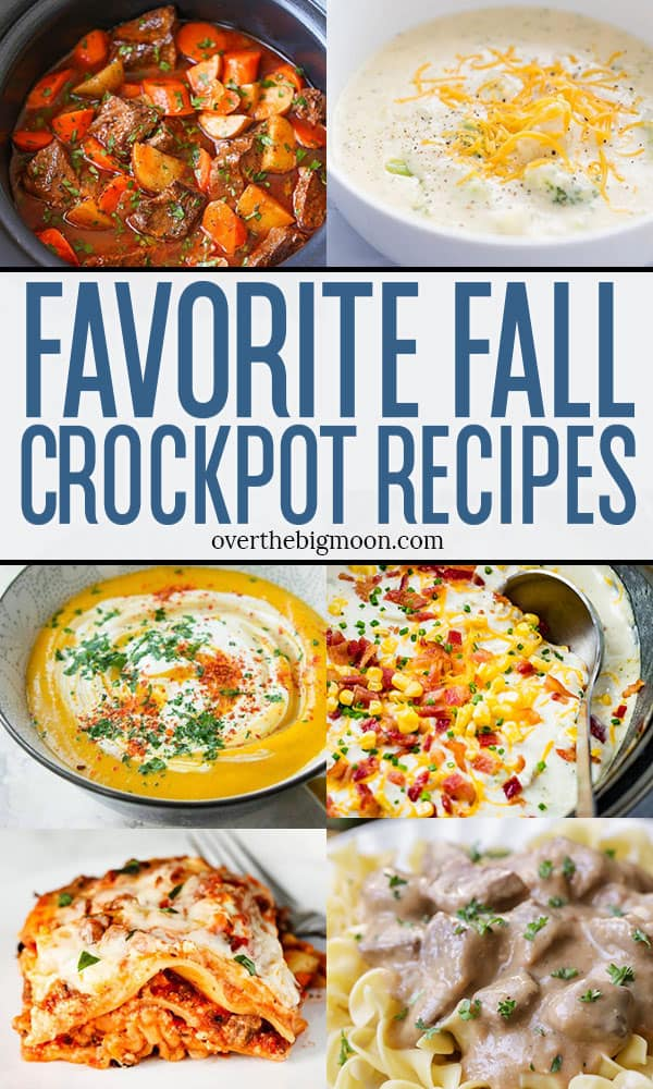 A fun collection of 35+ Fall Crockpot Recipes that are perfect for dinner time as the temperatures cool down this Fall and Winter! I've collected easy soup, chicken and beef recipes that your family will love! From overthebigmoon.com!