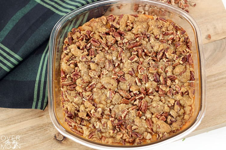 This Sweet Potato Crunch is THE BEST! The brown sugar and pecan crumble is the star of the show! From overthebigmoon.com!