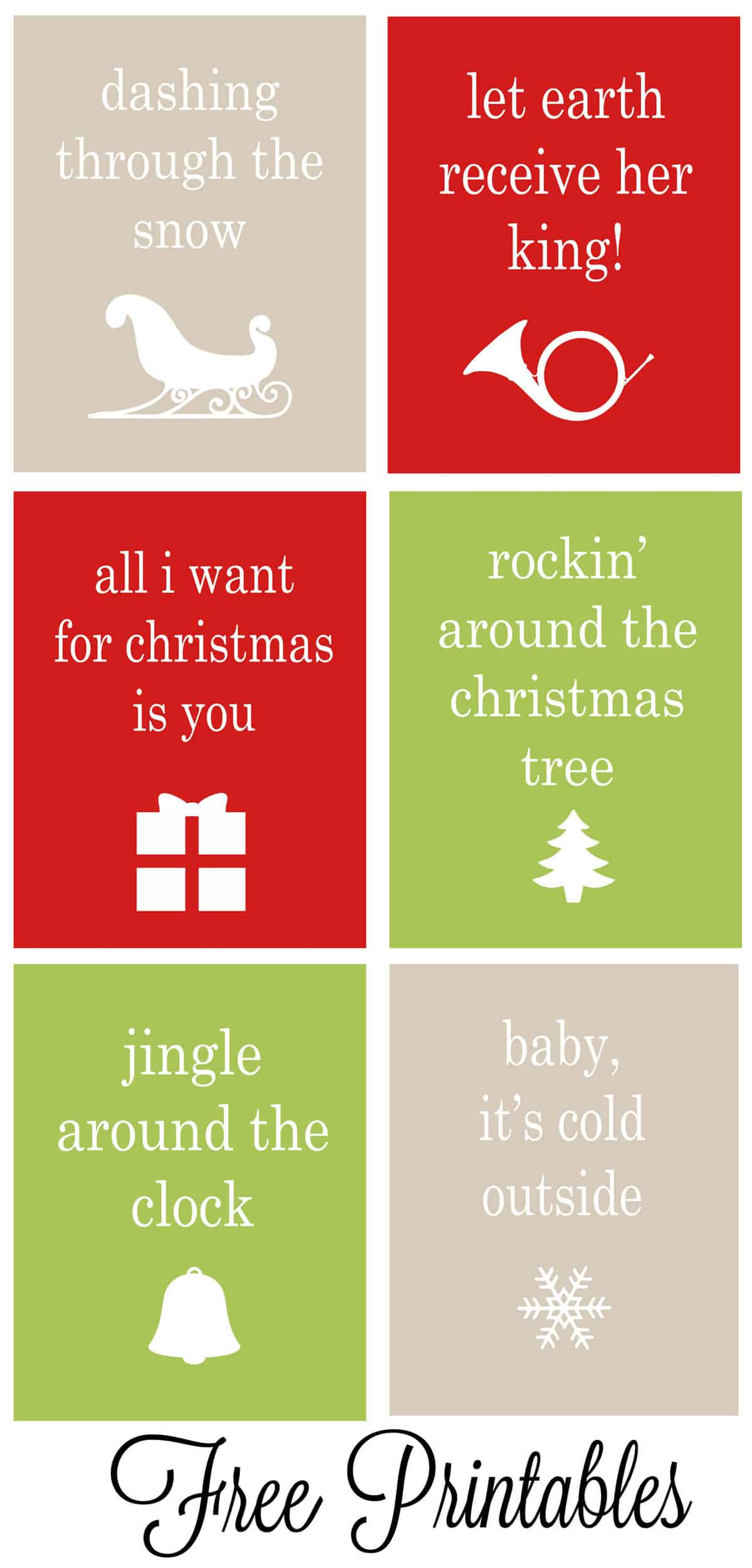 Set Of 6 Christmas Carol Free Printables